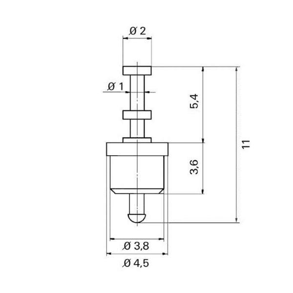 Keramik-Lötdurchführung Grommet Technische Zeichnung tfd07010