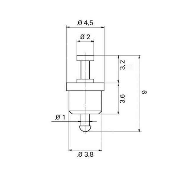 Keramik-Lötdurchführung Grommet Technische Zeichnung tfd07030