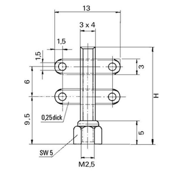 Keramik-Lötstützpunkte Ceramic Soldering Terminal Technische Zeichnung HG005310