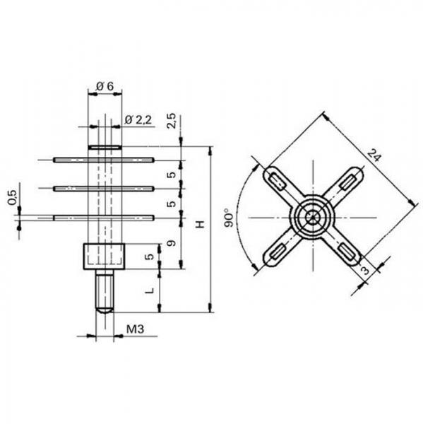 Keramik Lötstützpunkt Ceramic Soldering Terminals Technische Zeichnung fga02030