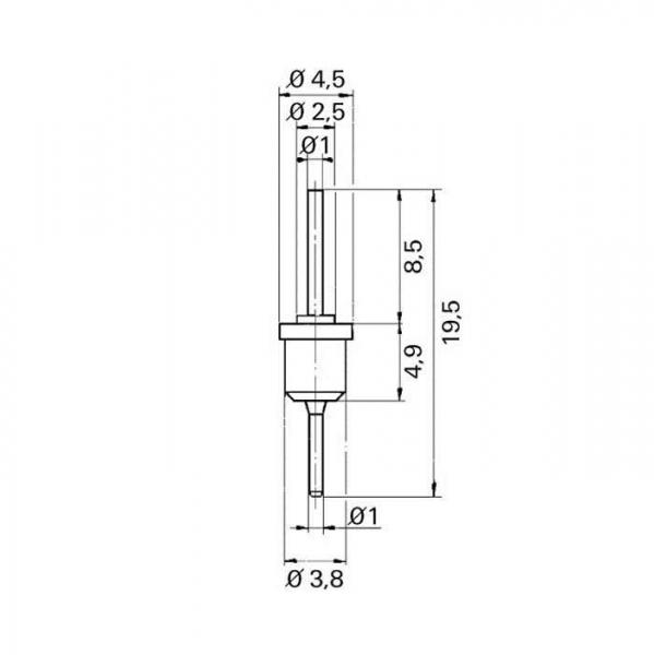 Lötdurchführung  grommet  Technische Zeichnung tfd07060