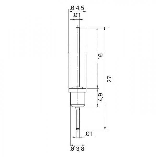 Lötdurchführung  grommet Technische Zeichnung tfd07070