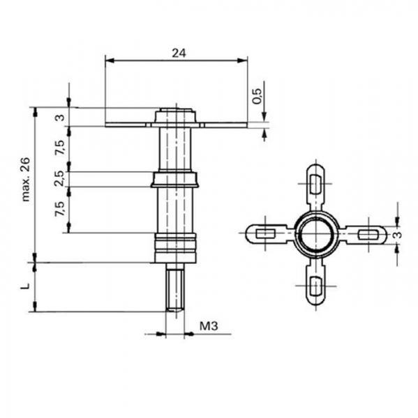 Keramik Lötstützpunkt Ceramic Soldering Terminals Technische Zeichnunglsp07400